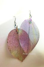 AB Iridescent Multi Color Aspen Leaf Dangle Earrings Wester Nature Jewelry 17-2