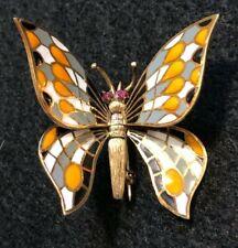 14k Gold Plique-A-Jour Ruby Eyes, Enamel Butterfly Brooch Pin w/ Movable Wings