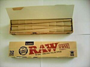 1 BOX OF 32 RAW CLASSIC 1 1/4 SIZE PRE-ROLLED CONE IN SMALL BOX RIZLA.