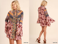 S-2X UMGEE Colorful 70's Long Bell Sleeve Paisley Print Loose Shift Dress Boho