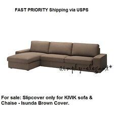 IKEA KIVIK Cover for KIVIK 3-seater Sofa with Chaise Isunda Brown Slipcover NEW