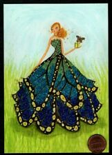 PAPYRUS Bella Pilar  Blue Dress Butterfly GLITTERED -  Blank Greeting Note Card