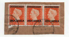 Indonesia - Sc# 303 Used / Strip of (3) on piece  -  Lot 0220135