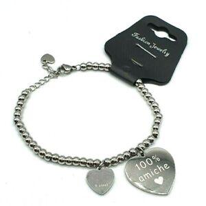 bracciale da donna braccialetto in acciaio a catena con cuore incisione scritte