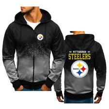 Pittsburgh Steelers Fans Hoodie Sports Zipper Sweatshirt Casual Hooded Jacket