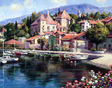 Canvas print European town seaside house oil painting HD printed on canvas L1621