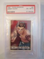 1951 JIMMY FLOOD BOXING CARD #4 - TOPPS RINGSIDE - PSA GRADED EX - MT 6