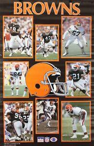 Vintage 1989 CLEVELAND BROWNS 34 x 22 NFL Starline Poster Kosar & Others RARE