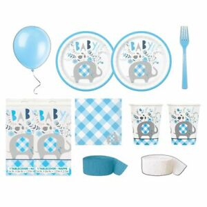 Blue Floral Elephant Baby Shower Deluxe Bundle Table Cover - Serves 16