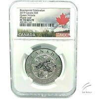2019 Canada S$4 Bicentennial Queen Victoria Maple Leaf PF70 Reverse Proof 1/2 oz