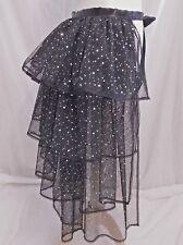 Ladies Black Sparkly Long Bustle Net Lace Skirt Tutu Burlesque Hen Bachelorette
