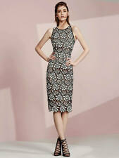 COAST Ritvina Black White Nude Brown Floral Lace Midi Pencil Shift Dress 22 £139