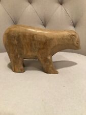 NWT Threshold Carved Natural Wood Polar Bear Decorative Figurine