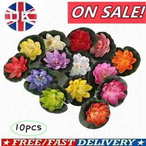 10x Artificial Lotus Flowers Lily Pad Floating Aquarium Pond Plants Ornament UK!