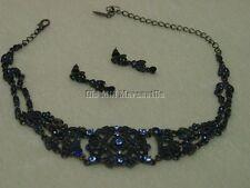Vintage Antique Victorian style Austrian Crystal BLUE beaded choker & earrings