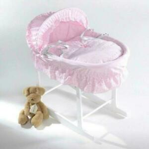 Isabella Alicia Broderie Anglaise Moses basket Rocking Stand not included