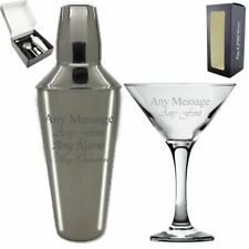Personalised Engraved 5 piece Cocktail Shaker Set and Martini Glass