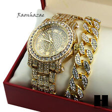Hip Hop Iced Out Techno Pave Watch & Cuban Stone Chain Bracelet Combo Set GS155