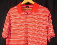 Nike Golf Dri Fit Short Sleeve Polo Shirt Red White Stripe XL
