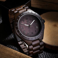 UWOOD Mens Wood Watch Black Sandal Solid Wooden Watch Relogio Masculino Gift Men