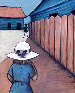 """CHARLES BLACKMAN """"Schoolgirls in Laneway"""" Signed Limited Edition Print 66 x 53cm"""