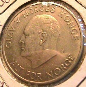 1963 Norway 5 Krone Choice AU Lustrous Original Norges Five Kroner World Coin