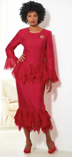 Ashro Red Chiffon Formal Dress Party Church Brianne Skirt Suit Size 12 14 16