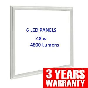 6 x LED Panel 48W Recessed Ceiling 595x 595x 10mm -Cool White 6500k with Driver