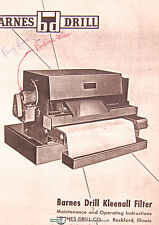 Barnes Drill PE & MPW, Kleenall Filter Maintenance and Operations Manual