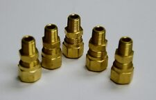 Brass Fittings DOT Air Brake Male Connector, Tube OD 1/2, Male Pipe 1/4, Qty 5