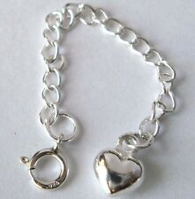 5pcs 925 solid Sterling Silver Extension Chain extender puff heart Spring Clasp