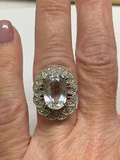 14k Aquamarine And Diamond Cocktail Ring Size 6.75