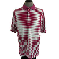 FootJoy Mens M Pink White Striped Golf Polo Wicking Stretch Windsong Farms Shirt