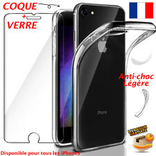 COQUE HOUSSE ETUI TPU GEL IPHONE 6 5 7 8 X + PROTECTION VITRE VERRE TREMPE 9H