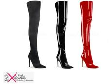 """PLEASER COURTLY 3012 STRETCH THIGH HIGH BOOTS 5"""" STILETTO HEEL POINTED TOE"""