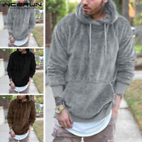 Mens Fleece Fur Long Sleeve Hooded Hoodie Sweatshirt Winter Warm Jacket Coat Top
