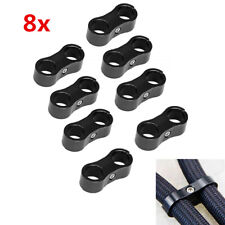 8x CNC AN8 Dual Hose Clamp Turbo Gas Fuel Oil Line Tube Pipe Separator Organizer