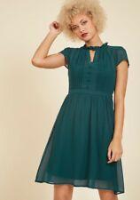 Modcloth Plus Size 1X Oh Say Can You Museum A-line Keyhole Dress Teal Pleated