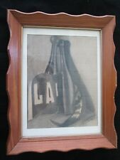 1915  Charcoal Drawing LaFayette School  Banner11x14 Wood Frame