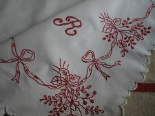 ANTIQUE FRENCH REDWORK EMBROIDERY-Scalloped Furniture Topper-Monogram TR-Alsace