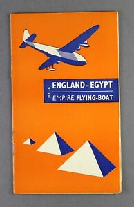 IMPERIAL AIRWAYS ENGLAND - EGYPT INFLIGHT ROUTE MAP BY THE EMPIRE FLYING BOAT