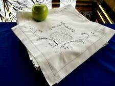 "12 Antique 1920s Linen 25"" Hemstitch Napkins Fab Italian Cutwork Lace Mono Cyk"