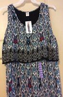 New Women's Dress Blue Tribal Empire Long Sleeveless $68 XXL/2X/1X Flattering
