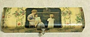 Vintage Victorian Celluloid Dresser Vanity Jewelry Glove Box Mom & 2 Children