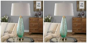 """PAIR COASTAL DECOR 33"""" FROSTED SEA GREEN GLASS TABLE LAMP AGED BRASS METAL 27003"""