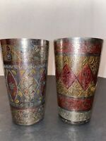 Antique Etched Brass Cups Set Of 2