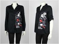 Womens Desigual Patchwork Shirt Long Sleeve Roll Up Black Cotton Size M