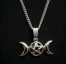Triple Moon Pentagram Pendant Necklace Celtic, Pagan, Wicca 18 inch chain