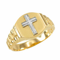 10K Mens Yellow Gold Cross Ring