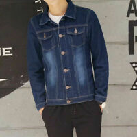 Autumn Men's retro Slim Fit Coat Jean Denim Jacket Casual Coats Outerwear